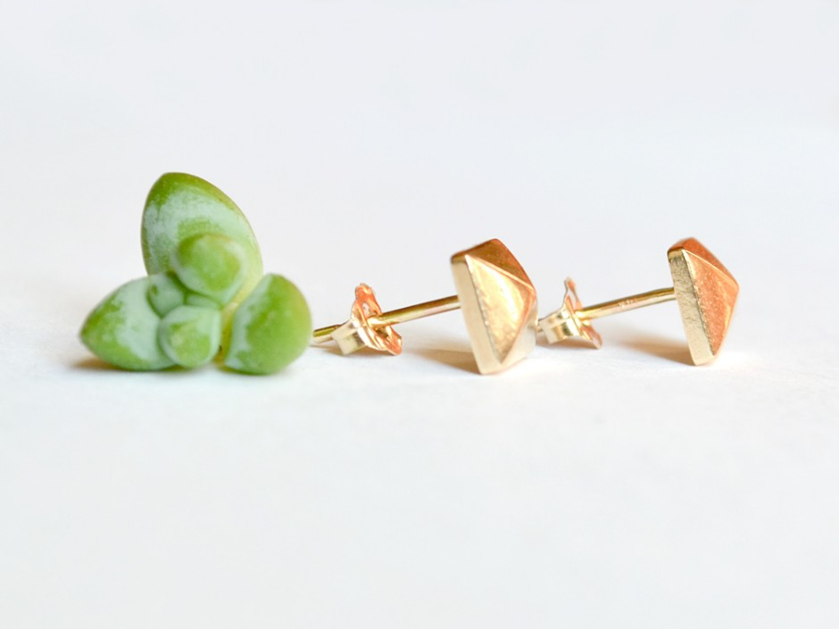 e6e6e432a 14K Gold Pyramid Stud Earrings » Hook & Matter: handmade modern ...
