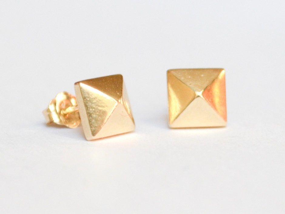 7c241246a 14K Gold Pyramid Stud Earrings » Hook & Matter: handmade modern ...