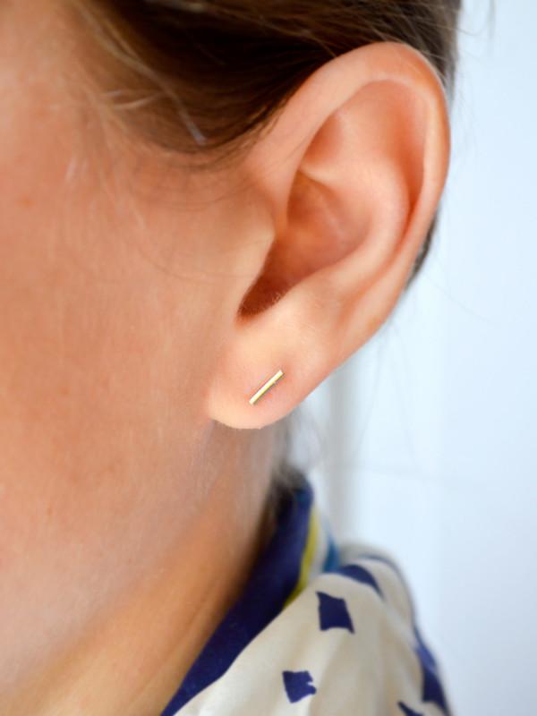 14k Gold Bar Stud Earrings