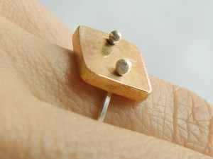 Punctured Brass and Sterling Ring