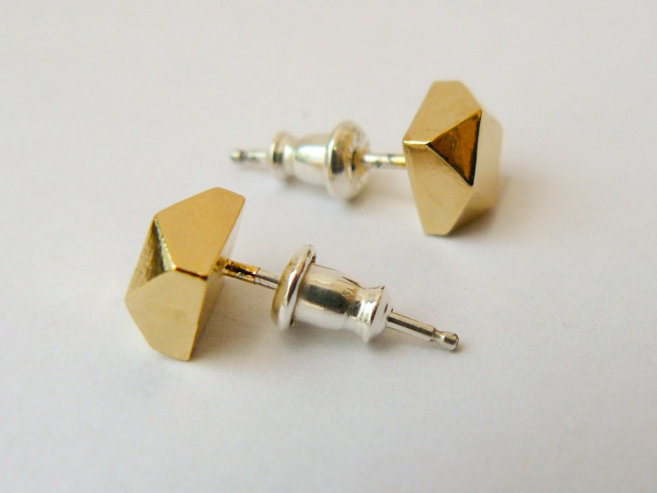 Gold Large Faceted Stud Earrings 2