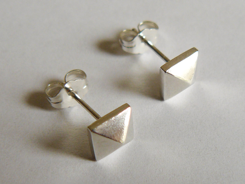 Sterling Silver Pyramid Stud Earrings 2