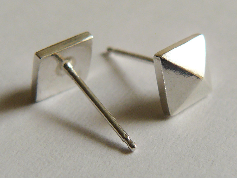 Sterling Silver Pyramid Stud Earrings 3