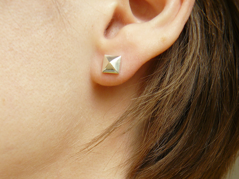 Sterling Silver Pyramid Stud Earrings 4