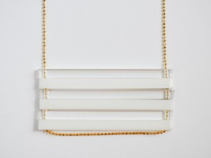 White and Clear Extra Long Bar Necklace