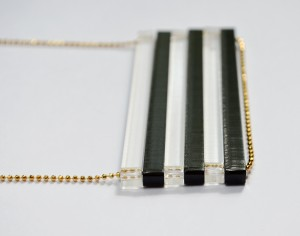 Black and Clear Extra Long Bar Necklace