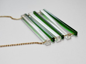 Green and Clear Extra Long Bar Necklace
