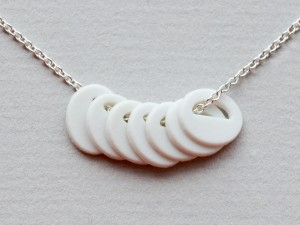 7 Porcelain Ovals on Sterling Silver Chain