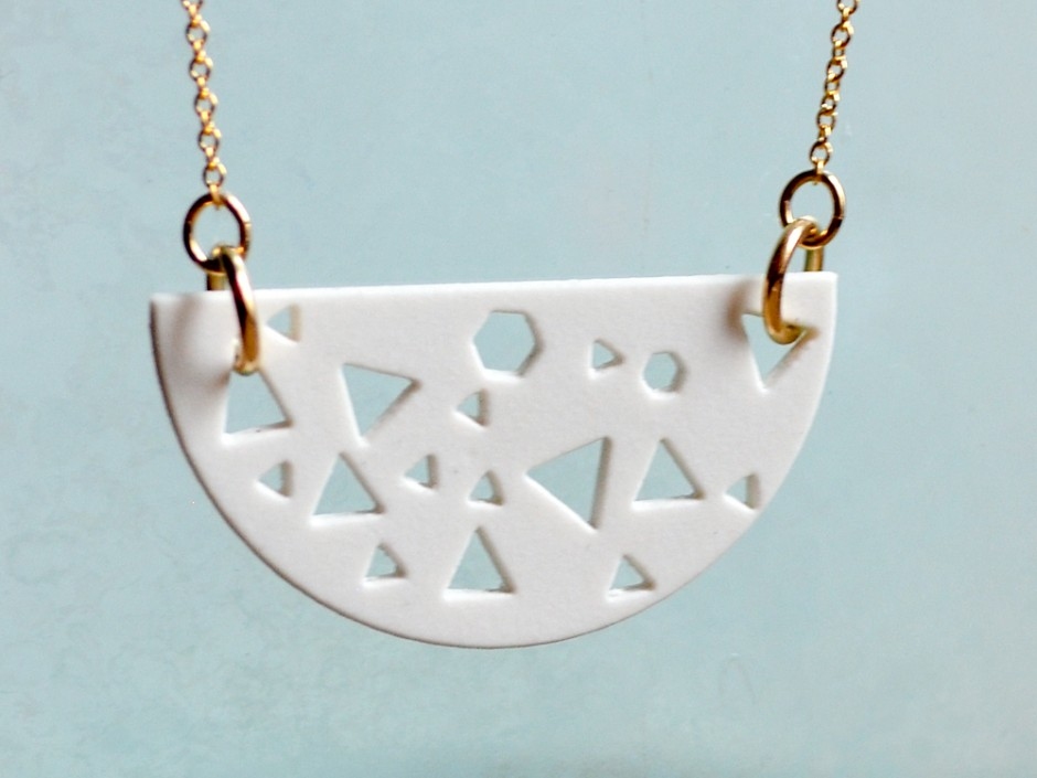 1980s Cut-Out Half Moon Necklace