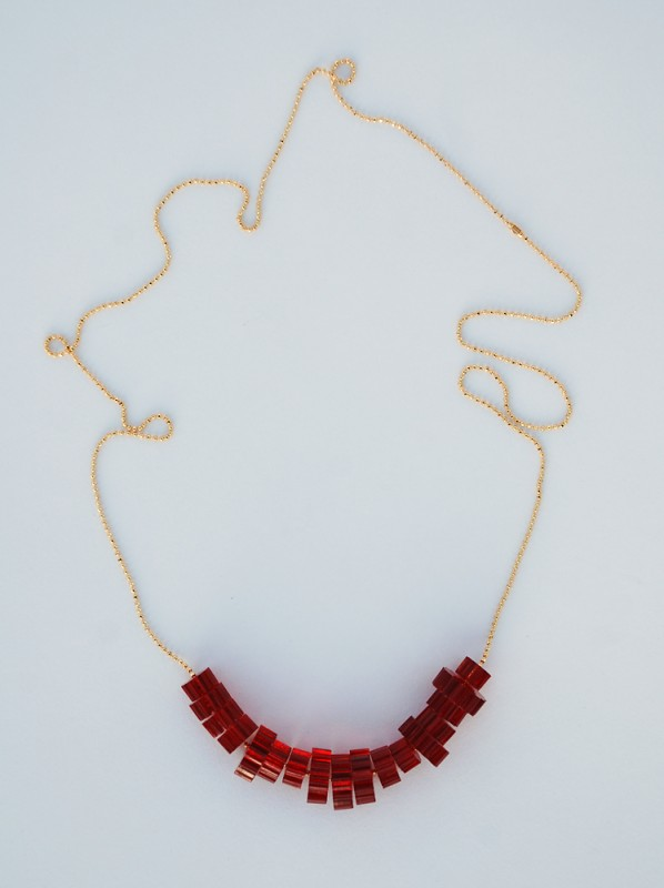 Red Laser Cut Bead Necklace