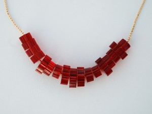 Red Custom Laser Cut Bead Necklace