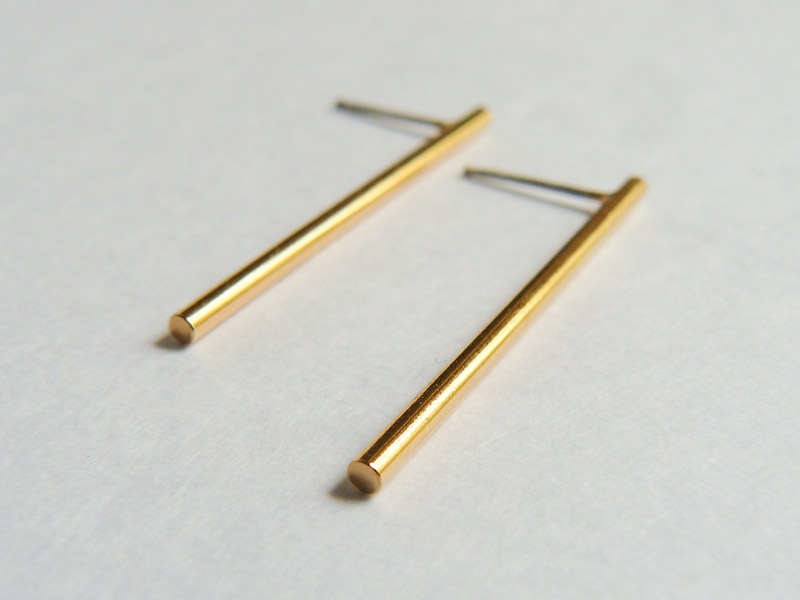 Gold Bar Long Stud Earrings 2