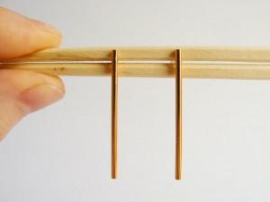 Gold Bar Long Stud Earrings