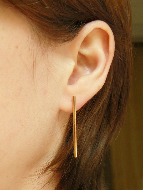 Gold Bar Long Stud Earrings 3