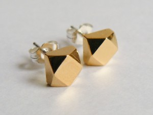 Gold Large Faceted Stud Earrings