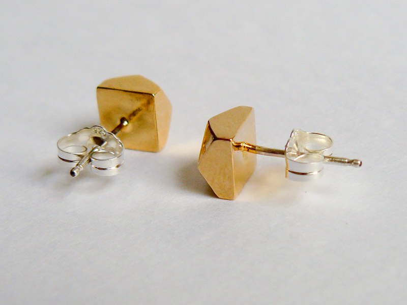 Gold Large Faceted Stud Earrings 4