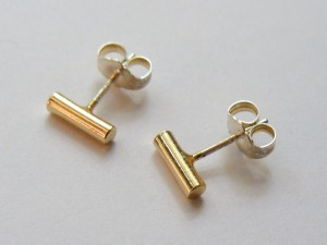 Tiny Gold Bar Studs