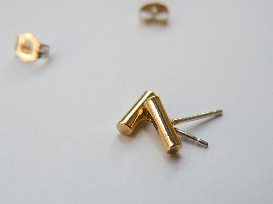 Tiny Gold Bar Studs 2