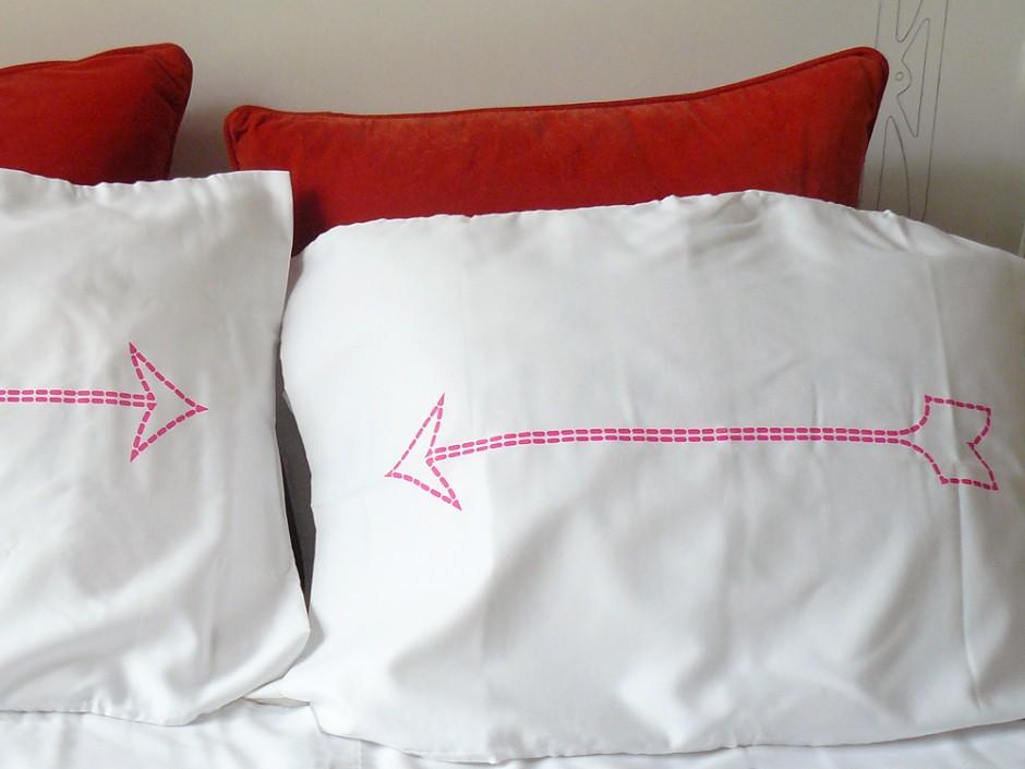 Neon Pink Bow & Arrow Pillowcase