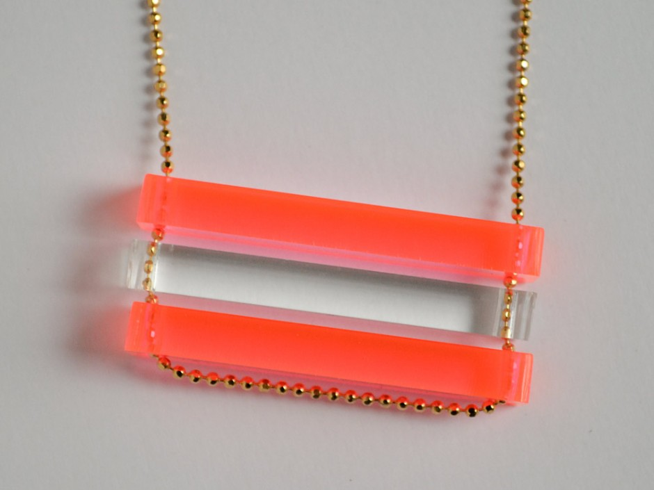 Long Neon Pink and Clear Bar Necklace