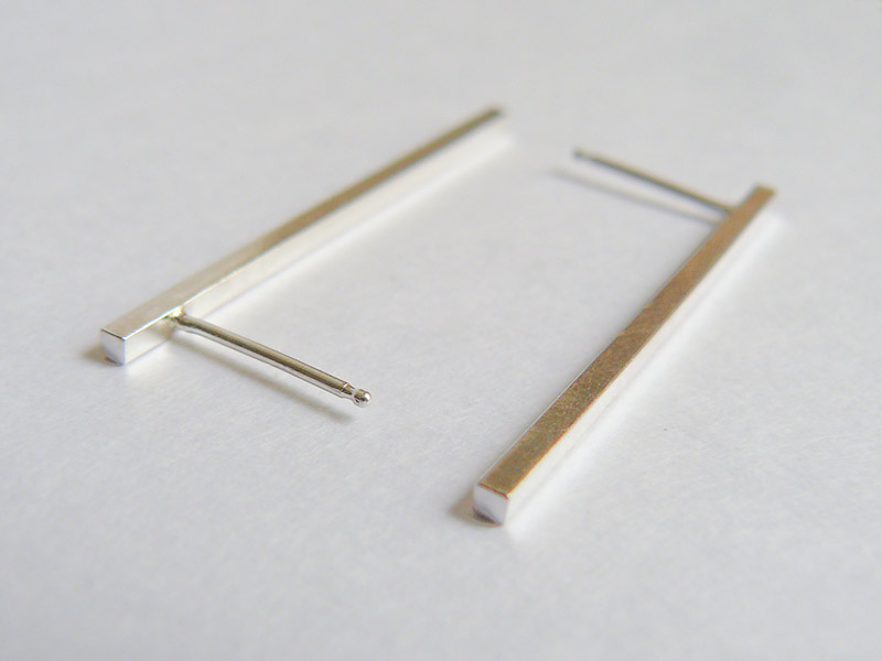 Square Sterling Silver Bar Stud Earrings Long 3