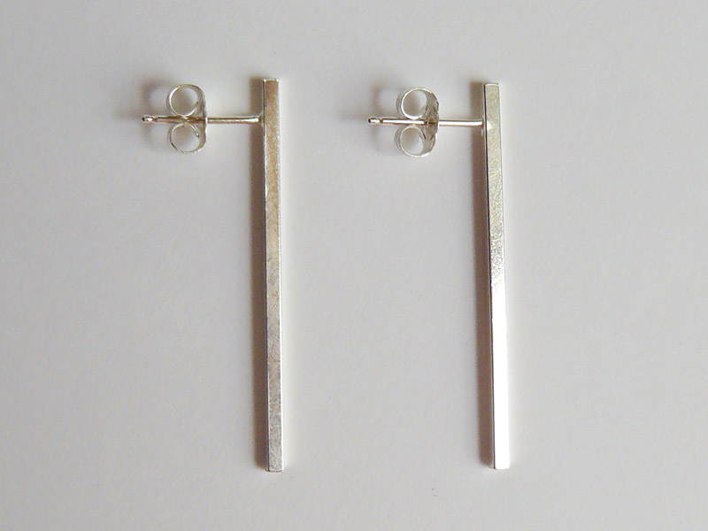 Square Sterling Silver Bar Stud Earrings Long 4