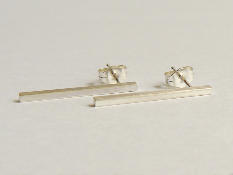 Sterling Silver Square Bar Stud Earrings 4