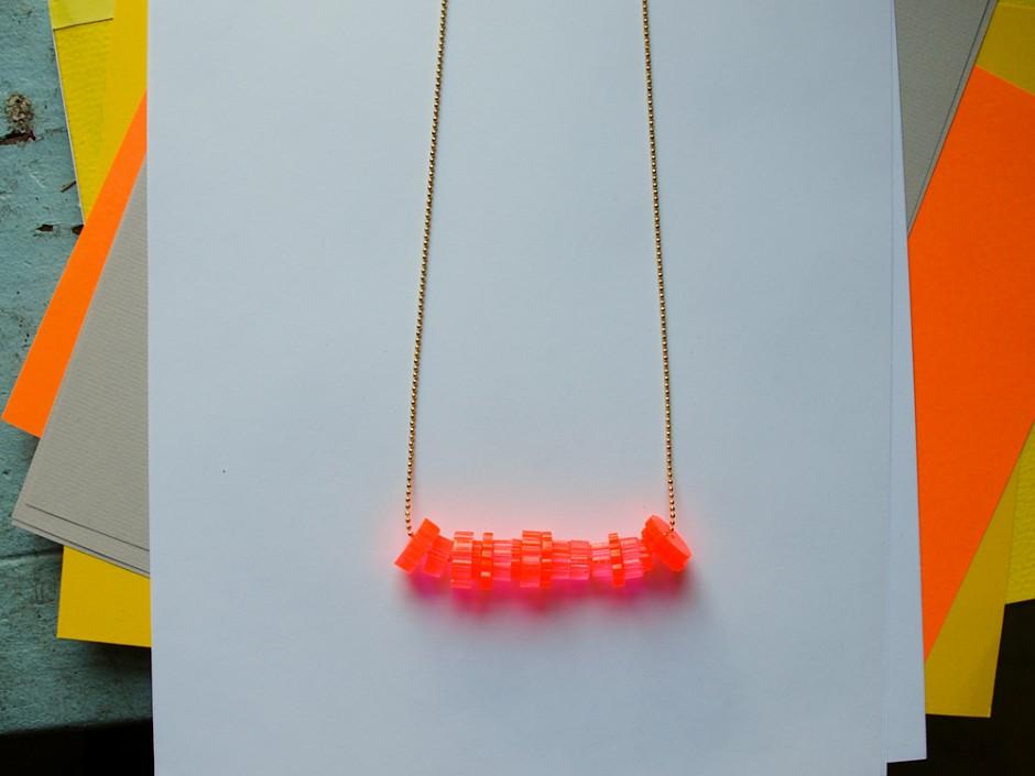 Neon Acrylic Cog Bead Necklace 3