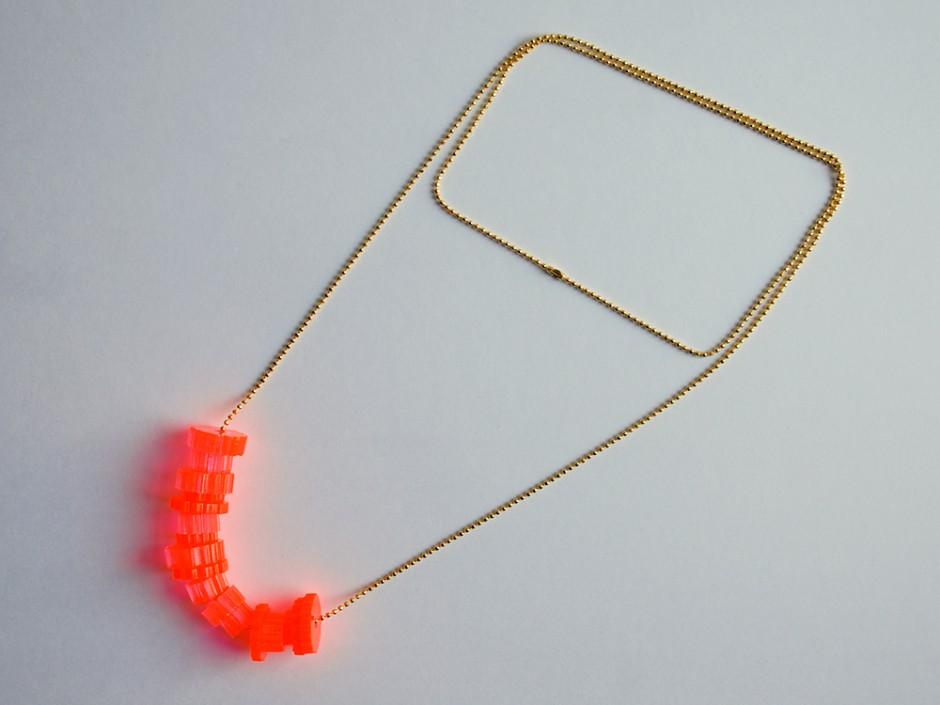 Neon Acrylic Cog Bead Necklace 4