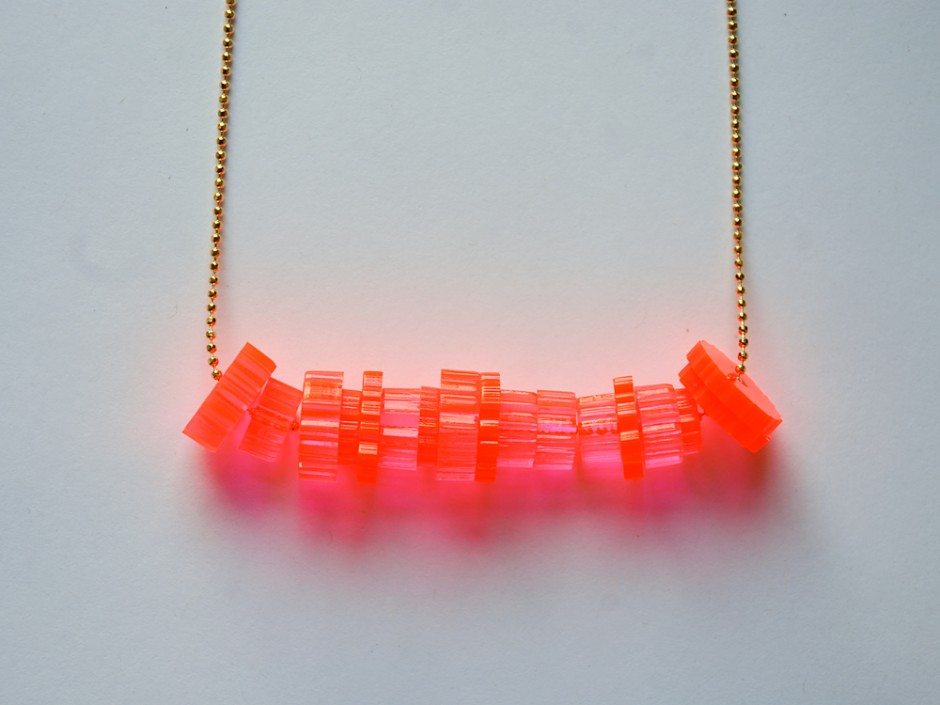 Neon Pink Laser Cut Acrylic Cog Bead Necklace