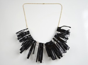 Black Clear Wishbone Statement Necklace