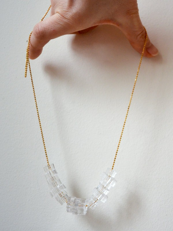 Clear Acrylic Cog Bead Necklace 2