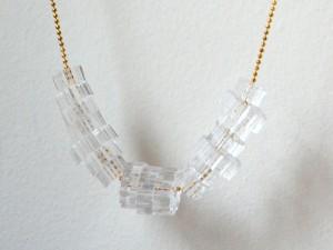 Clear Laser Cut Acrylic Cog Bead Necklace