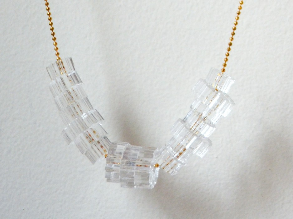 Clear Laser Cut Acrylic Cog Bead Necklace
