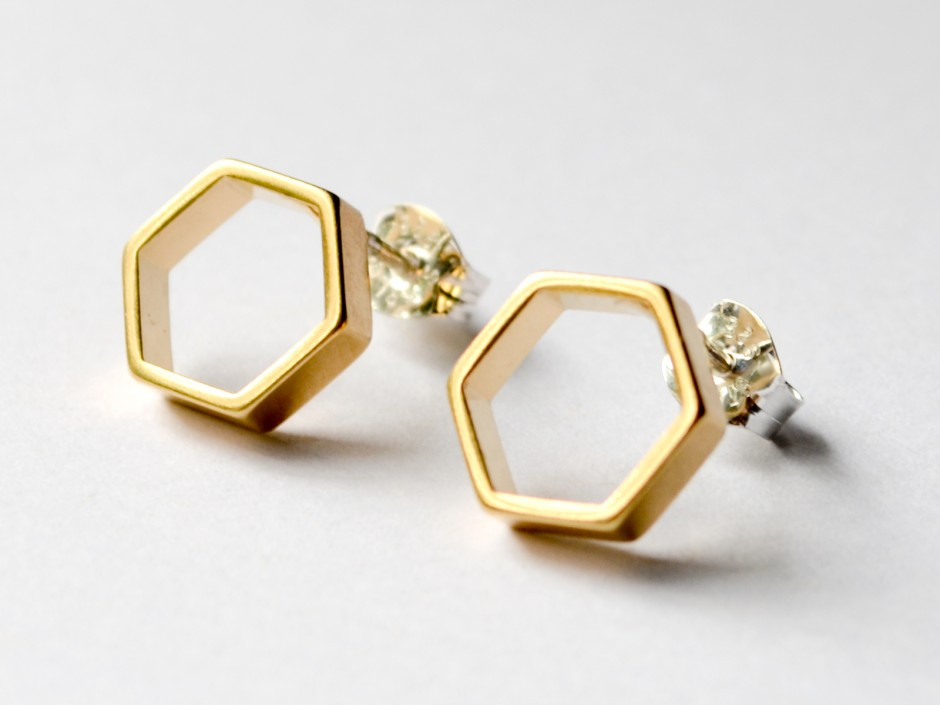 Gold Hexagon Earrings