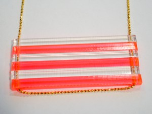 Neon Pink and Clear Extra Long Bar Necklace