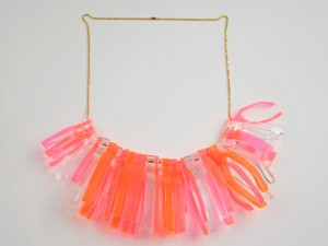 Neon Pink Orange Wishbone Statement Necklace