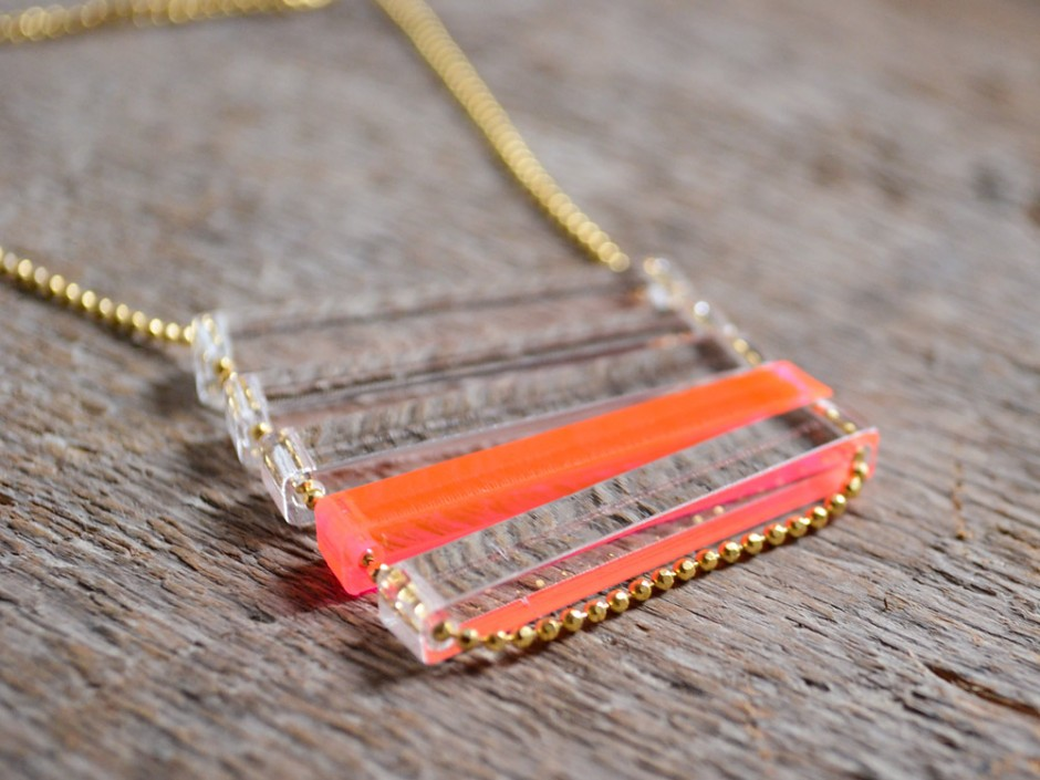 Neon Pink and Clear Thin Stacked Bar Necklace