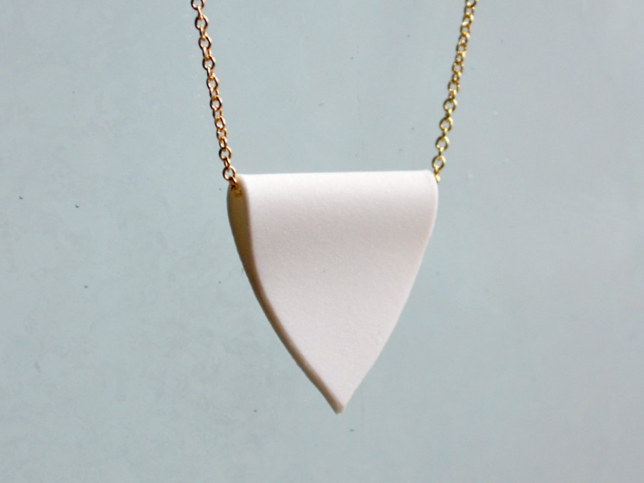 Porcelain Pendant Gold Necklace