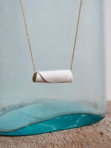 Porcelain Roll Up Necklace with Gold Chain