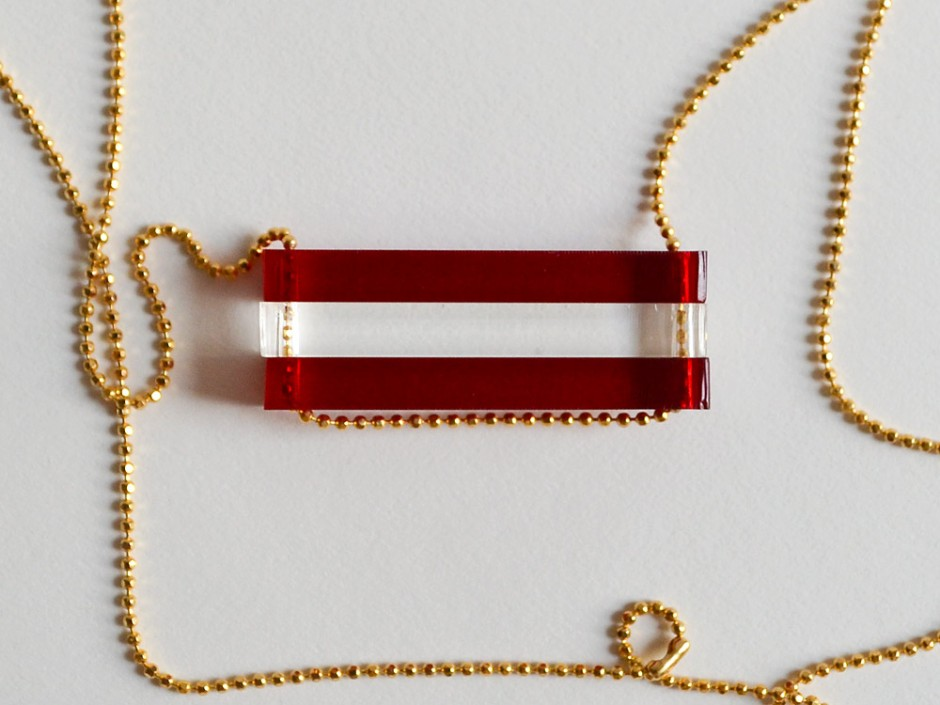 Crimson Red Long Bar Necklace