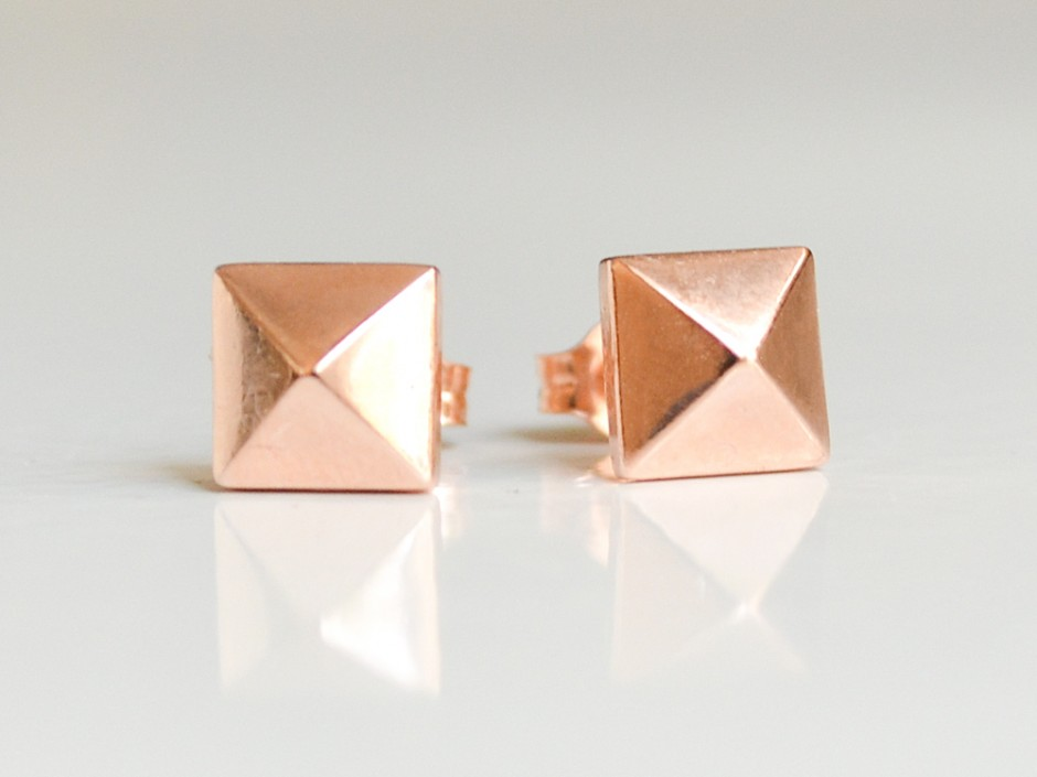 14k Rose Gold Stud Earrings 14k Rose Gold Pyramid Stud
