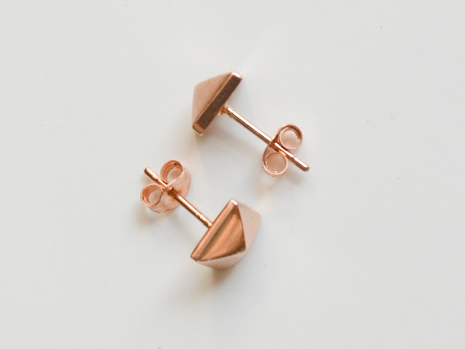 b8ecf943f 14K Rose Gold Pyramid Stud Earrings » Hook & Matter: handmade modern ...