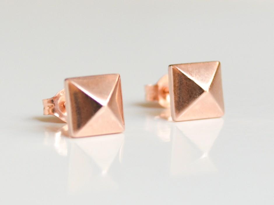 14k Rose Gold Pyramid Stud Earrings