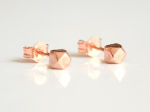 14K Rose Gold Tiny Faceted Cubes