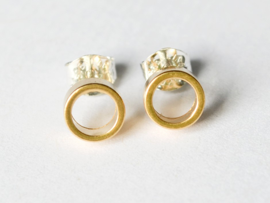Gold Tiny Circle Stud Earrings