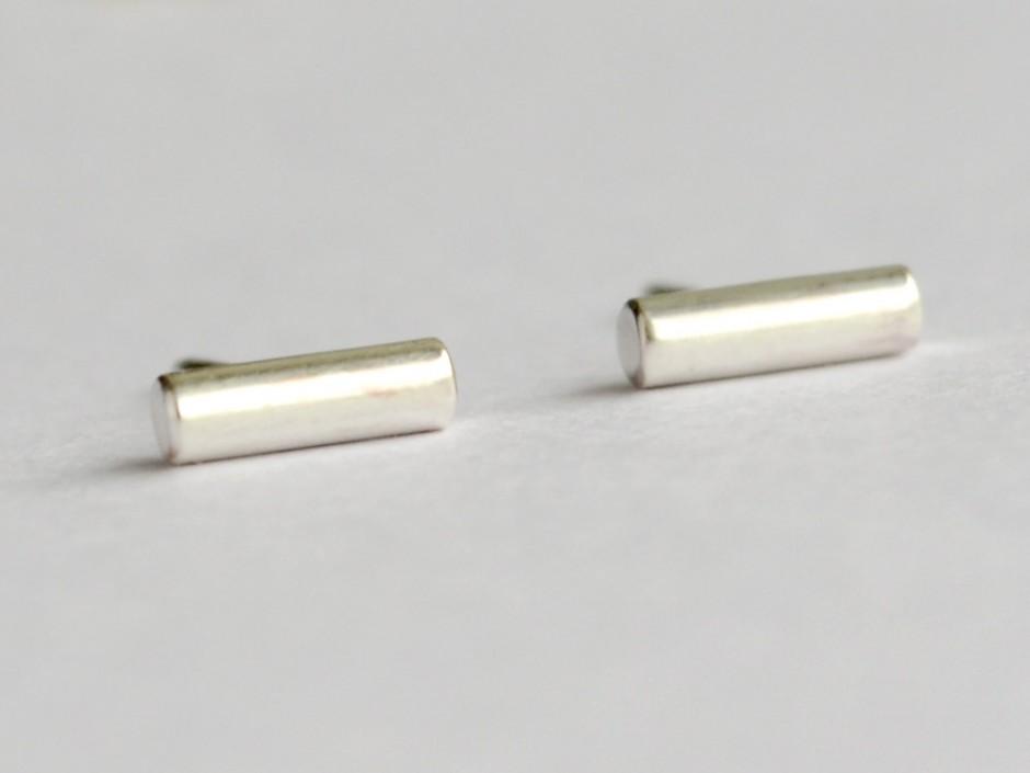 Tiny Sterling Silver Bar Stud Earrings