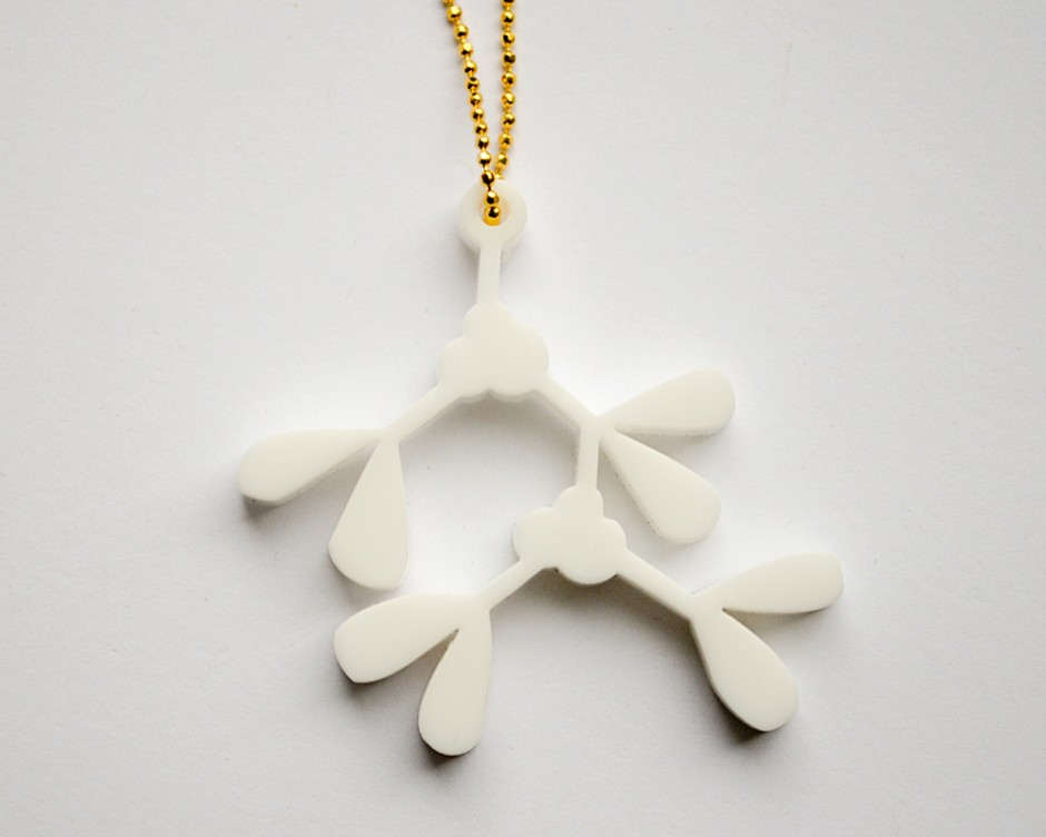 White Mistletoe Necklace - Lasercut Acrylic