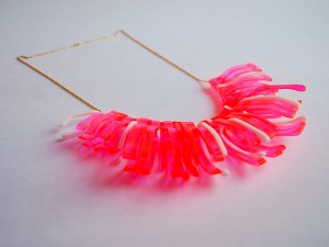 Neon Fluorescent Pink Wishbone Statement Necklace