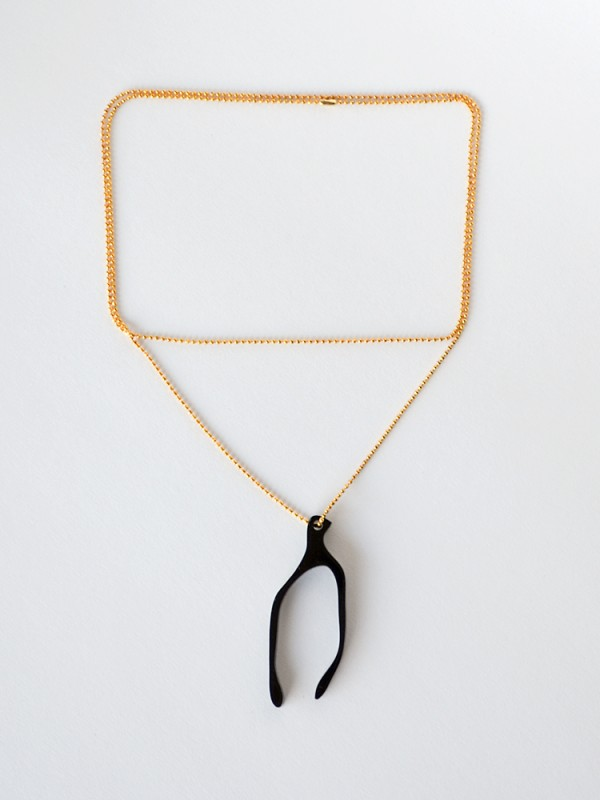 Black Wishbone Charm Necklace Long Gold Chain